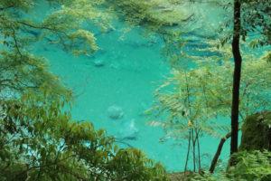 四国周遊「祖谷のかずら橋」ブルーび映える川面の光景